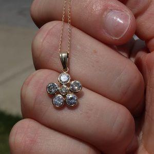 14k 1.60ct diamond pendent 10k gold chain